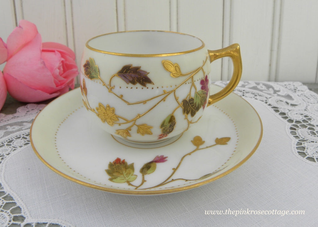 Antique H C Limoges France Demitasse Teacup and Saucer Oak and Acorns - The Pink Rose Cottage