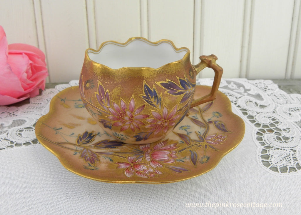Antique T V Limoges France Demitasse Teacup and Saucer Pink Mums Gold - The Pink Rose Cottage