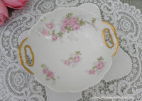 Antique M Redon Limoges Pink Rose Handled Bowl - The Pink Rose Cottage
