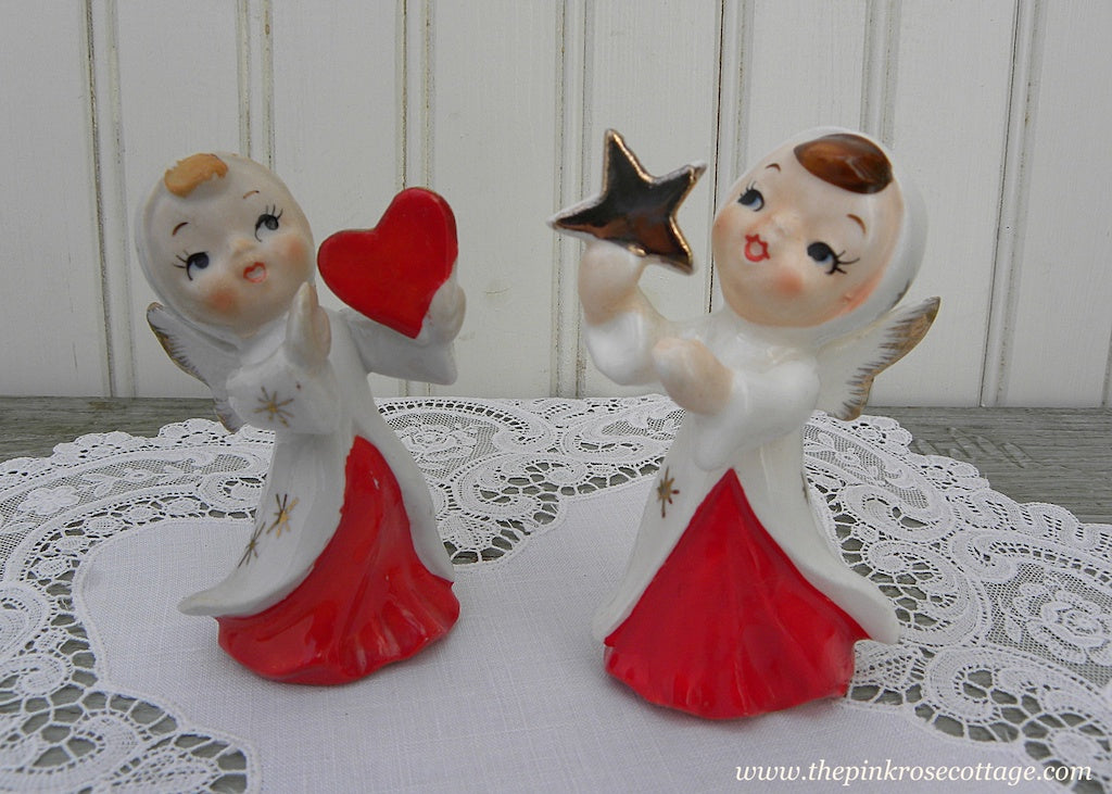 Pair of Christmas Angel Figurines Holding a Star and Heart Japan - The Pink Rose Cottage