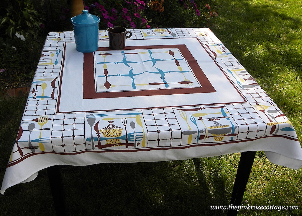 Vintage MCM Simtex Toss Up Kitchenware Kitchen Utensils Tablecloth