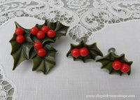 Vintage Christmas Holly Pin and Earring Set
