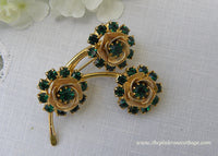 Vintage Green Rhinestone Rose Bouquet Pin Brooch