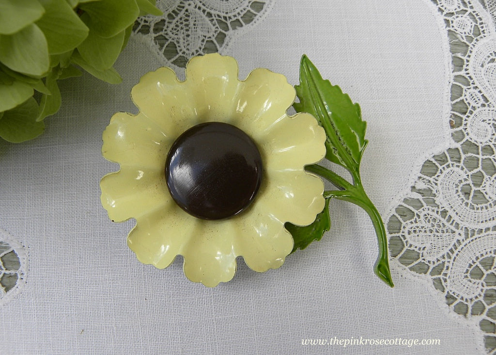 Vintage Enameled Yellow Sunflower Pin Brooch