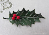 Vintage Enameled Christmas Holly Hollyberries Pin