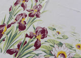 Vintage Maroon Irises and Water Lilies Tablecloth