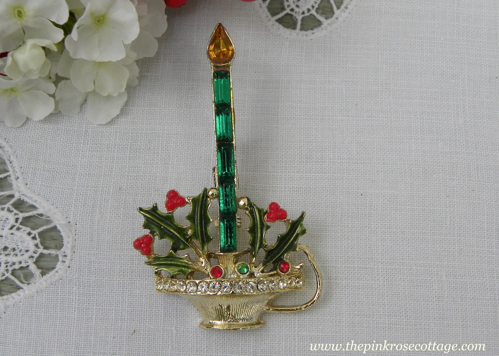 Vintage Rhinestone Christmas Candle Pin with Holly Berries