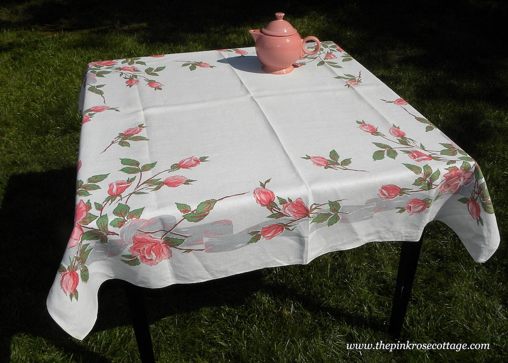 Vintage Long Stem Pink Roses and Ribbon Tablecloth
