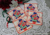 Vintage Bridge Tally Cards Christmas Poinsettia in Snowy Window
