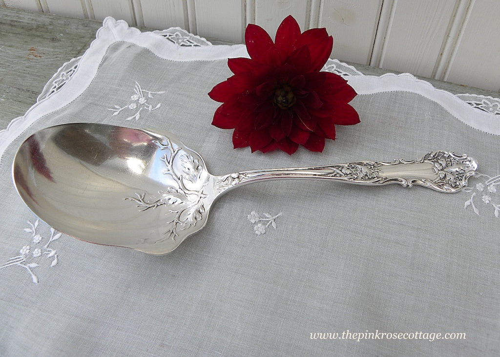 Antique 1847 Rogers Bros Charter Oak Berry Serving Spoon - The Pink Rose Cottage