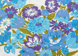 Vintage MCM Bold Blue and Purple Zinnia Petunia and more Tablecloth The Ryans