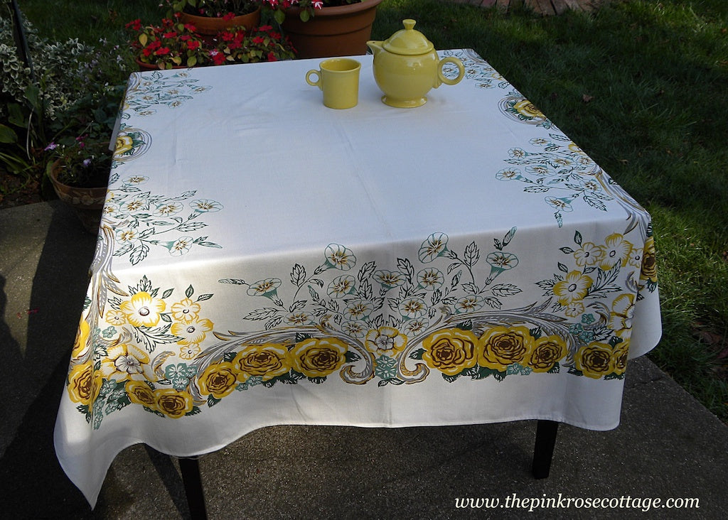 Unused Vintage Harmony House Yellow Rose and Green Morning Glories Tablecloth - The Pink Rose Cottage