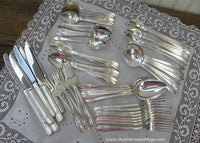 Vintage Tudor Silver Plate Queen Bess II Flatware Set with Extras