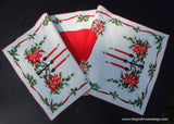 Vintage Christmas Poinsettias Holly Ribbon and Candles Table Runner