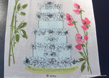 Vintage Vera Pink Roses Wedding Cake and Champagne Tea Towel
