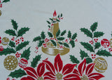 "Vintage MWT Garden State Tablecloth ""Jingle Bells"" Christmas Poinsettia Ornaments and More"