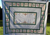 Vintage Tablecloth with Polkadots Flowers Berries People Lambs Birds