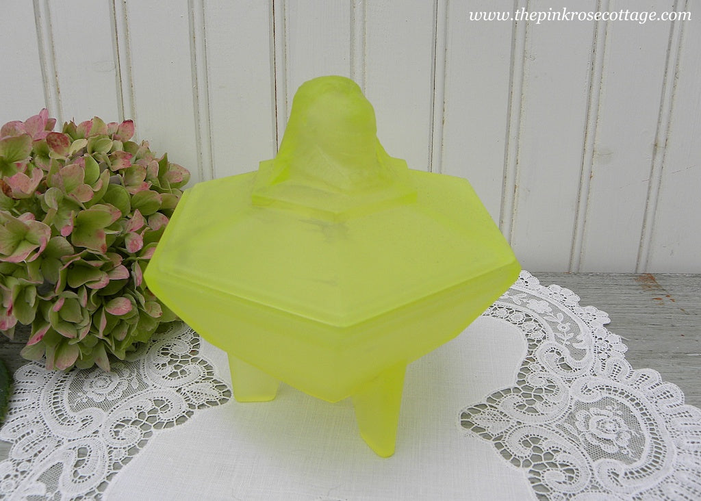 Vintage Yellow Satin Glass Sphinx King Tut  Powder Dresser Box