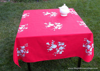 Vintage Wilendur Victoria Rose Red Tablecloth