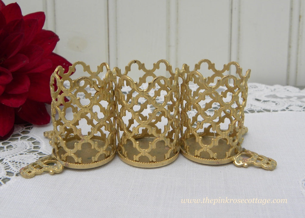 Vintage Vanity Filigree Ornate Footed Lipstick Holder Italy