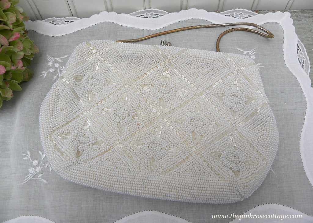 Vintage White Pearl Beaded Evening Bag Clutch Purse