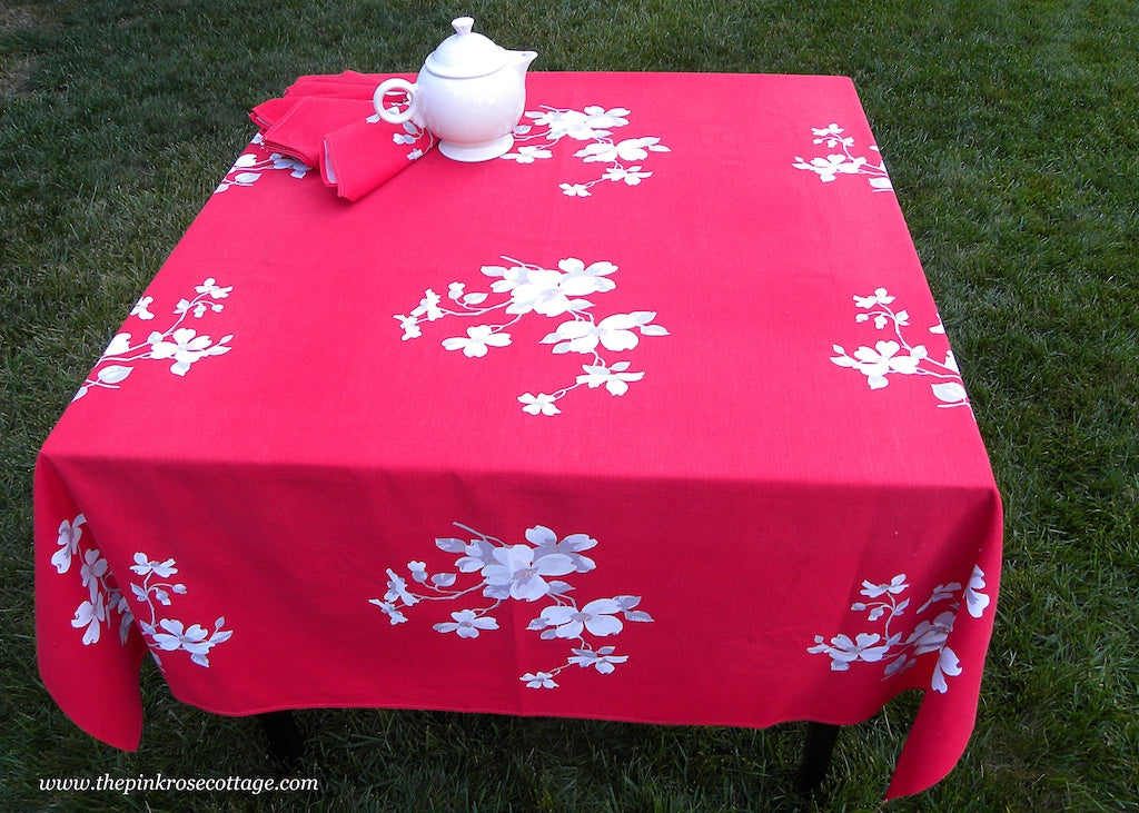 Vintage Wilendur Red Dogwood Tablecloth & Napkins