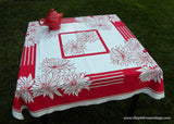 Art Deco Red and White Chrysanthemum Vintage Tablecloth