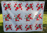Vintage Wilendur Red Royal Rose Tablecloth