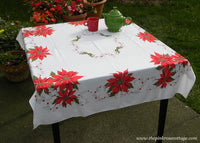 Vintage Christmas Poinsettia and Holly Tablecloth