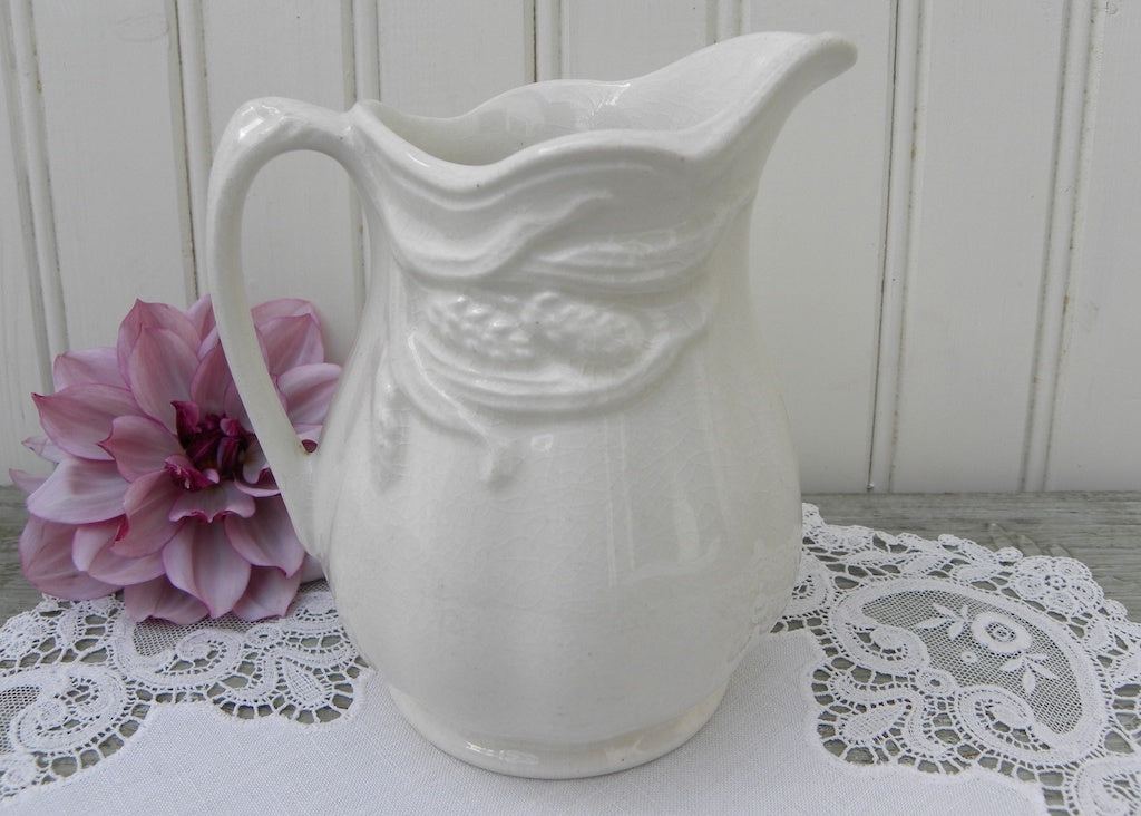 Antique Royal Crownford Ironstone Wheat Pitcher The Pink