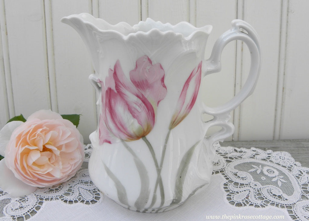 Vintage Pink Tulips Creamer or Pitcher Germany