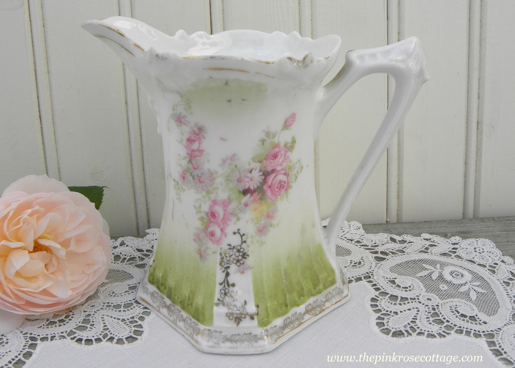 Antique Pink Roses with Green Pitcher or Creamer P.S. Prussia - The Pink Rose Cottage