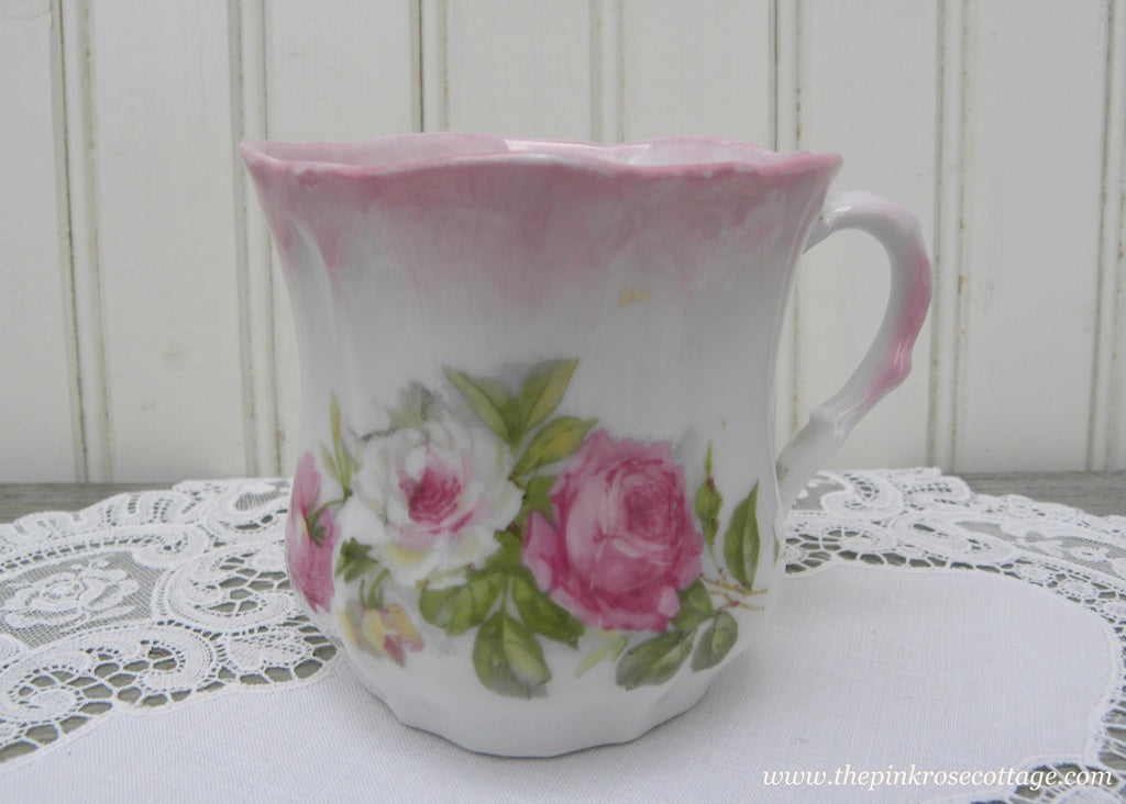 Vintage Pink and White Rose Tea Mug