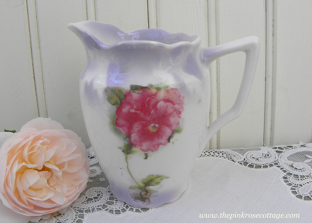 Vintage Wheelock & Co. Pink Pansy Pansies Creamer Germany