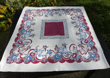 Vintage Iris Prints Figural Tablecloth Fred and Ginger Ballroom Dancers Maroon and Blue