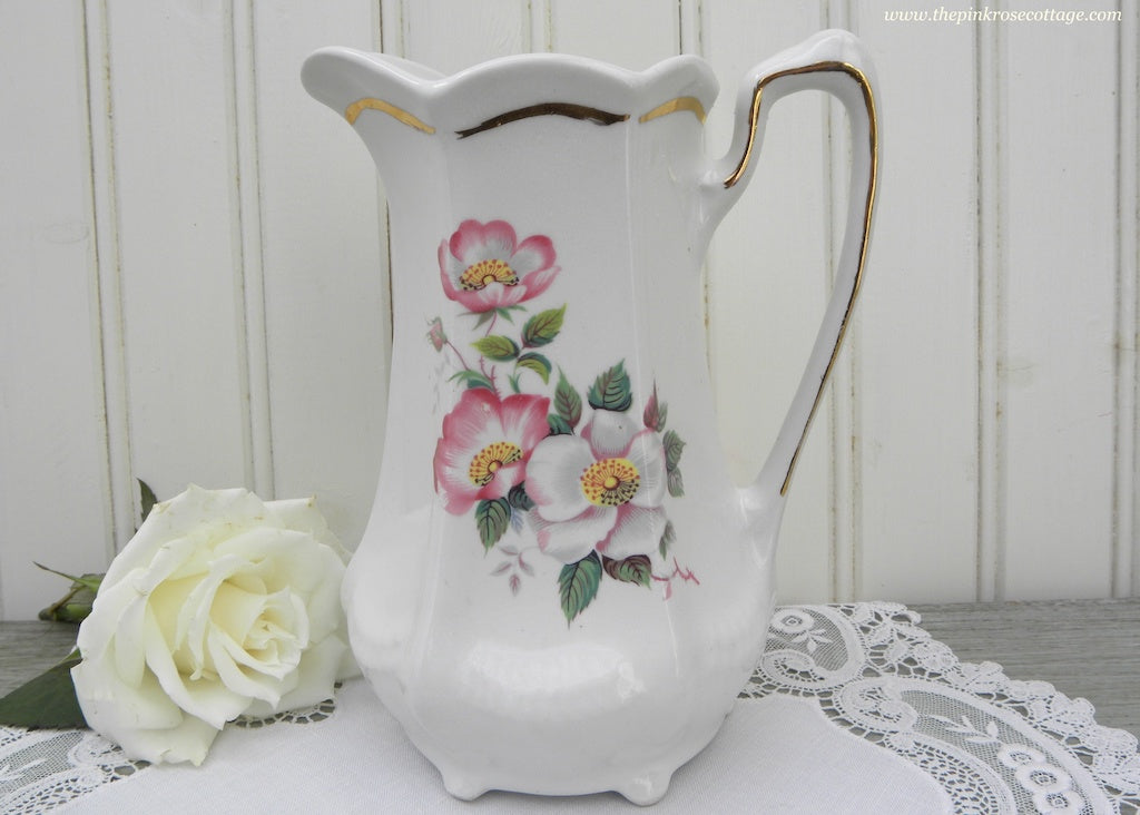 Vintage Pink and White Wild Roses Pitcher