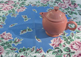 Vintage Pink Cabbage Roses on Blue Tablecloth