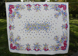 Vintage Pink Blue and Maroon Tablecloth with Charming Flower Basket