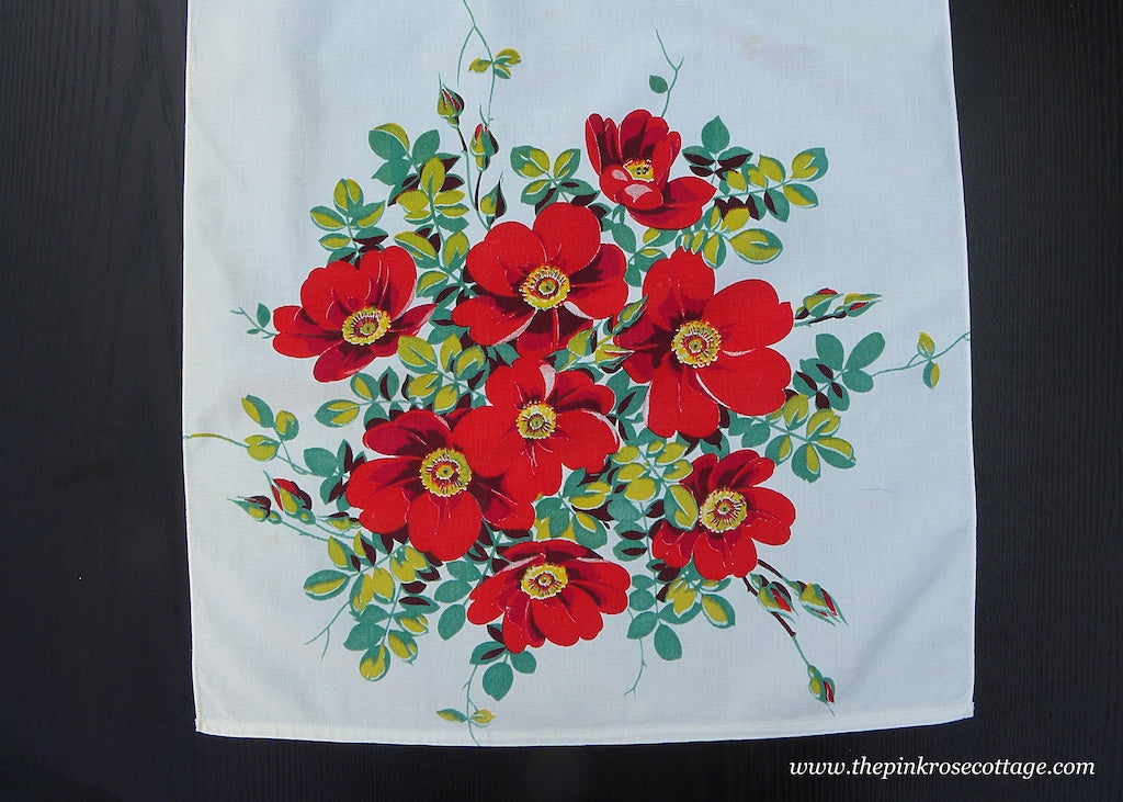 Vintage Wilendur Red Wild Rose Tea Towel