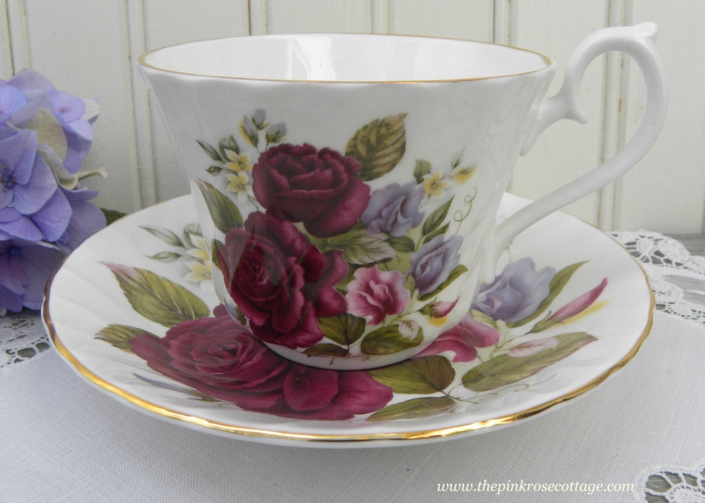 Vintage  Burgundy Roses and Sweet Peas Teacup and Saucer