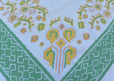 Vintage Startex Abstract Aztec Mexican Green and Yellow Tablecloth