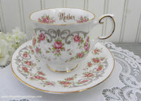 Vintage Queen's Pink Roses Mother Teacup and Saucer Mothers Day