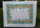 Vintage Vicray KB Orange Blossom Oranges on Teal Tablecloth