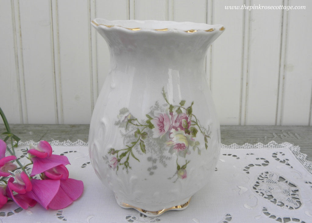 Antique Victorian Pink and Yellow Roses Vase