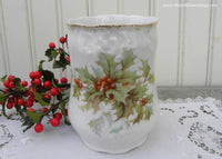 Antique Victorian Christmas Holly Tumbler Vase