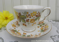 Vintage Queen Anne Fall Leaves and Berries Teacup and Saucer