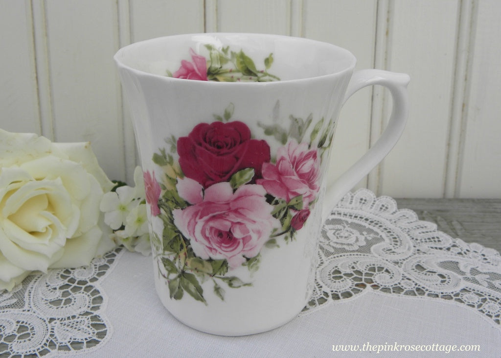Royal Patrician Bone China Tea Mug with Pink Roses