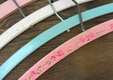 4 Vintage Wooden Hand Painted Pink Blue and White Hangers
