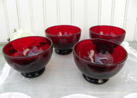 Set of 4 Ruby Red Depression Glass Fruit or Sherbet Bowls - The Pink Rose Cottage
