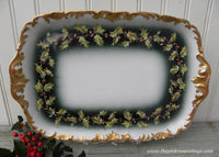 Antique T&V Tressemann Vogt Limoges  Christmas Holly Berry Garland Tray France - The Pink Rose Cottage